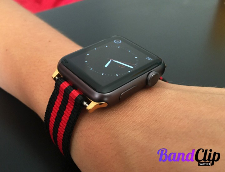 BandClip Gold Version with black and red nylon band