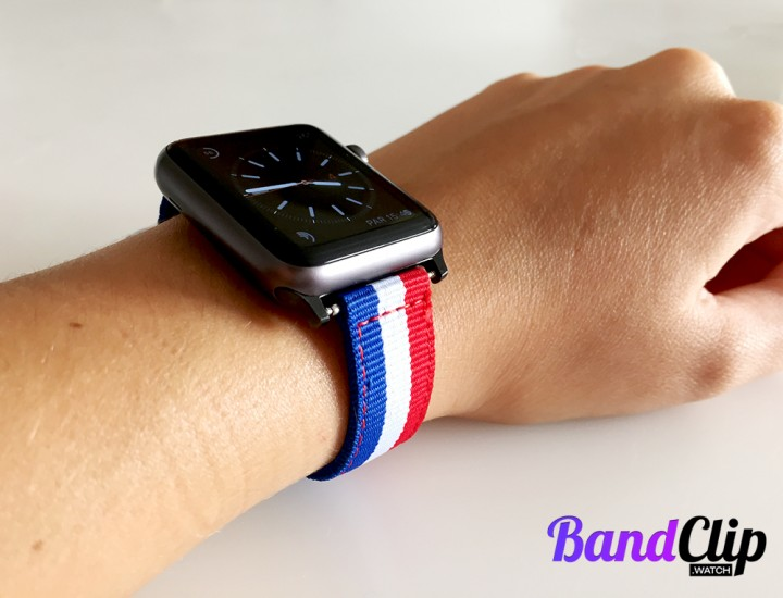 BandClip Space Gray Version with blue white and red nylon band